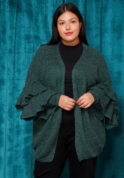 Asoph Plus Size Open Front Knit Cardigan