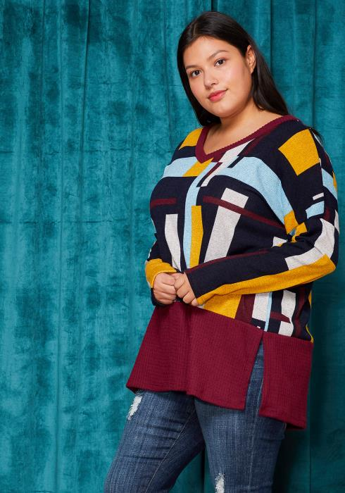 Asoph Plus Size Color Blocking V-Neck Sweater
