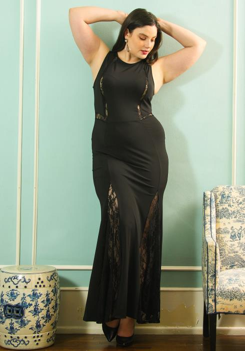 Asoph Plus Size Sleeveless Lace Trim Maxi Dress