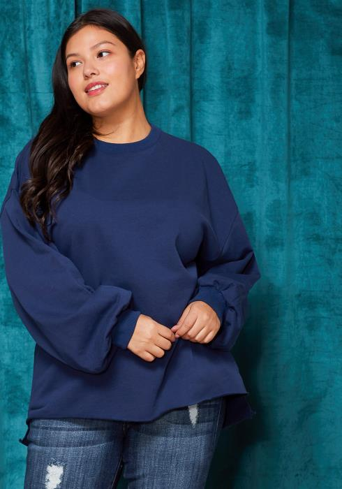 Asoph Plus Size Crewneck Letter Printed Back Sweatshirt