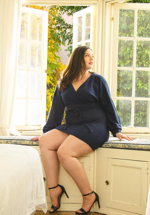 Asoph Plus Size Cozy V-Neck Soft Dolman Sleeve Dress