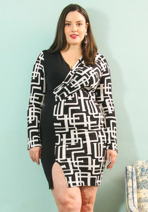 Asoph Plus Size Black White Print Contrast Wrap Dress