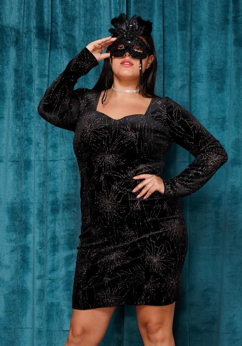 Asoph Plus Size Glitter Square Neck Sexy Club Party Dress