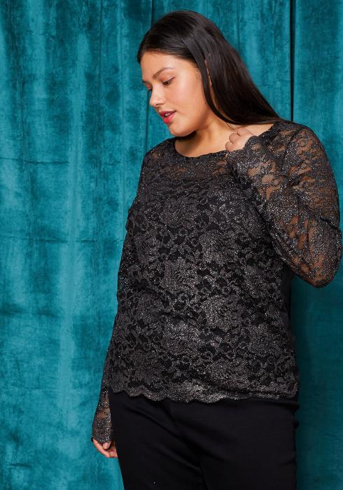 Asoph Plus Size Glitter Floral Embossed Blouse