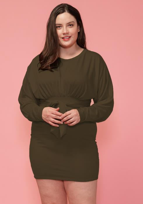 Asoph Plus Size Tie Waist Dolman Sleeve Dress
