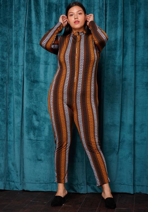 Asoph Plus Size Geometric Zip Up Long Sleeve Printed Jumpsuit