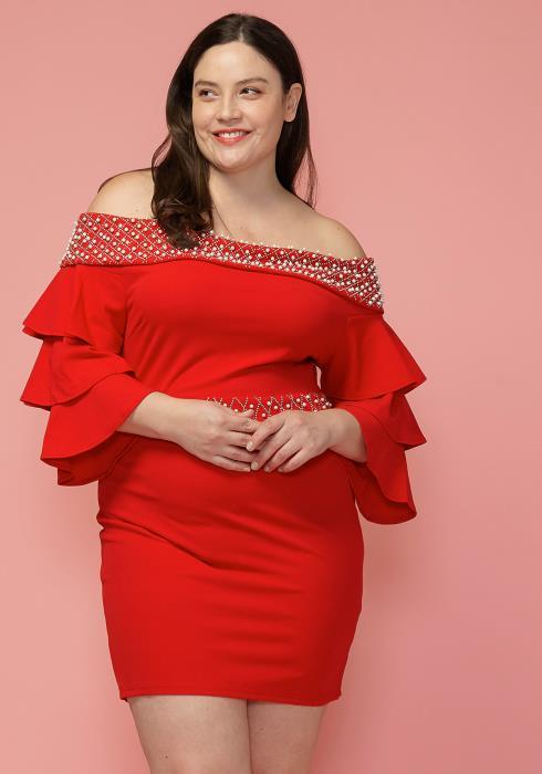 Asoph Plus Size Pearl Studded Off Shoulder Dress