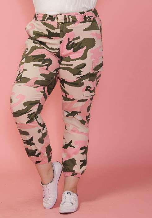 Asoph Plus Size Camo Print Pants With Belt
