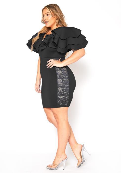 Asoph Plus Size Ruffle Shoulder Party Dress