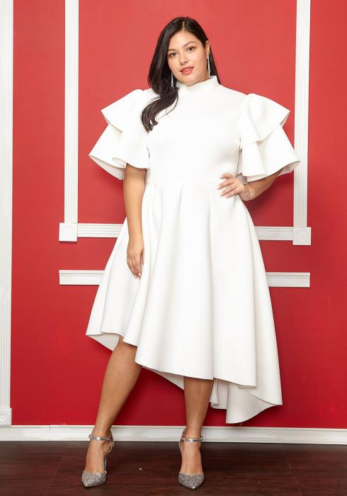 Asoph Plus Size Stay Classy Mock Neck Asymmetrical Dress
