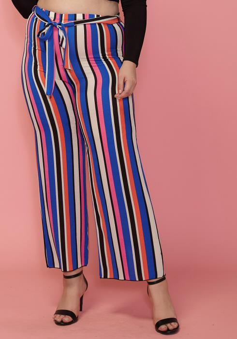 Asoph Plus Size Stripe Tie Waist Pants