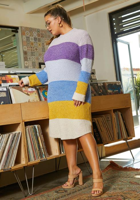 Asoph Plus Size Mock Neck Multi Color Stripe Sweater Dress
