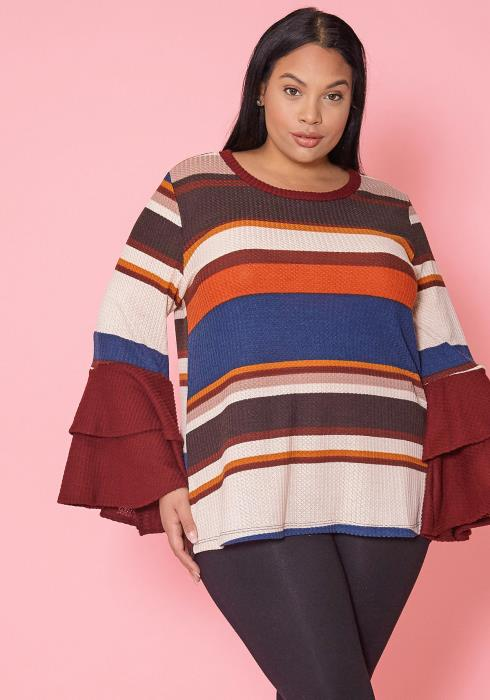 Asoph Plus Size Multi Color Stripe Ruffle Sleeve Sweater