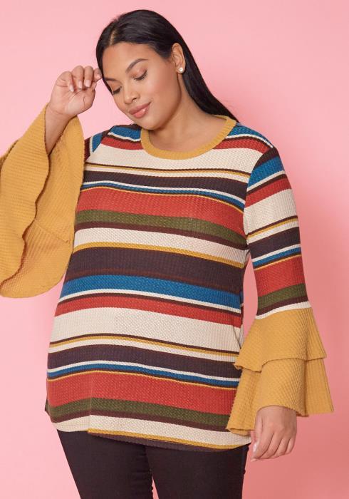 Asoph Plus Size Multi Color Stripe Ruffle Sleeve Sweater