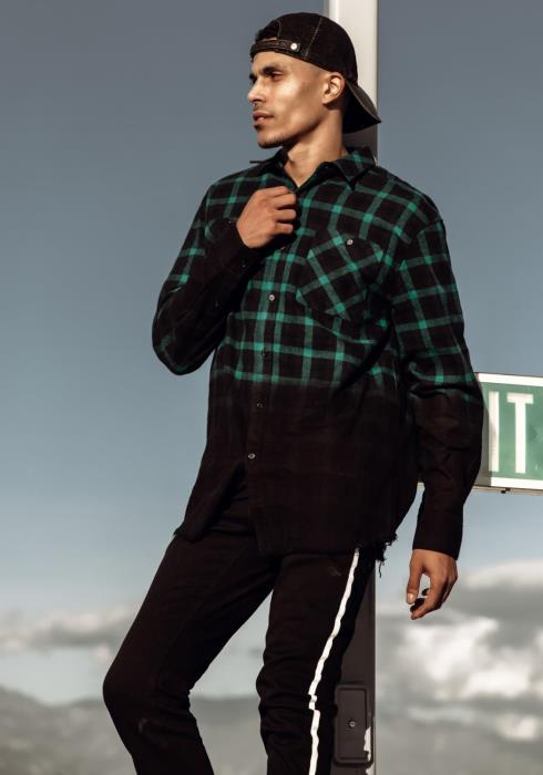 Blank State Frayed Ombre Flannel with Stud