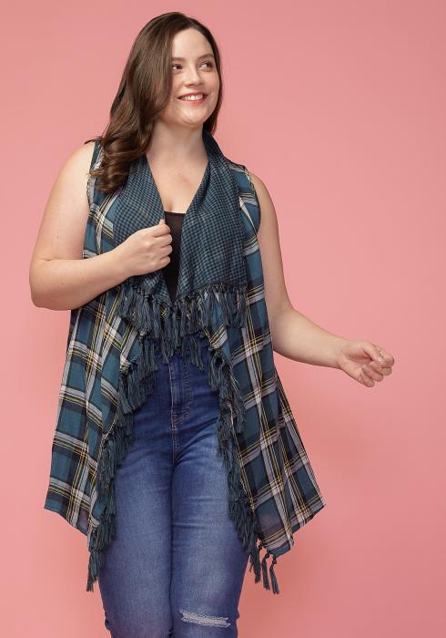 Asoph Plus Size Plaid Tassel Hem Sleeveless Cardigan Vest