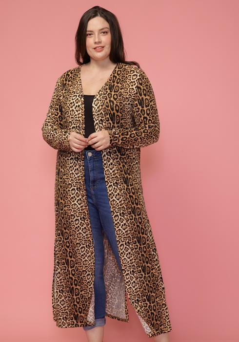 Asoph Plus Size Leopard Print Open Front Long Sleeve Cardigan