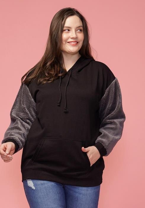 Asoph Plus Size Fur Sleeve Hoodie