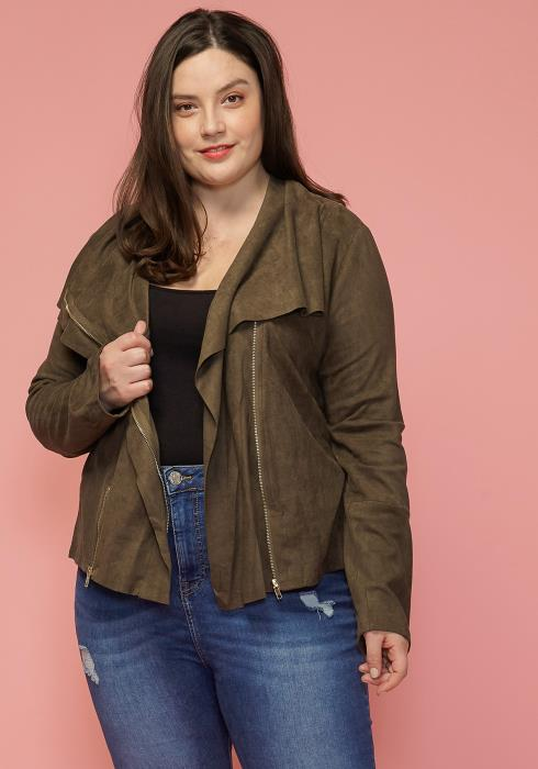 Asoph Plus Size Wide Collar Zip Up Jacket