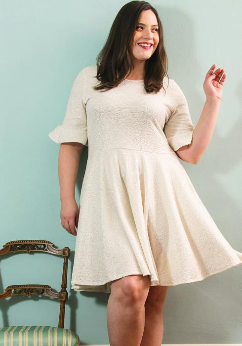 Asoph Plus Size Crewneck Bell Cuff Flared Dress