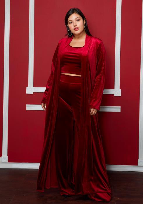 Asoph Plus Size Velvet Cardigan Set