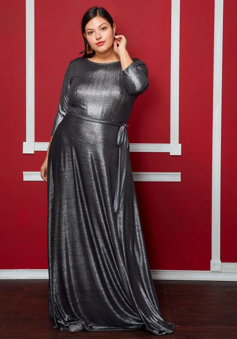 Asoph Plus Size Metallic Tie Front Maxi Party Dress