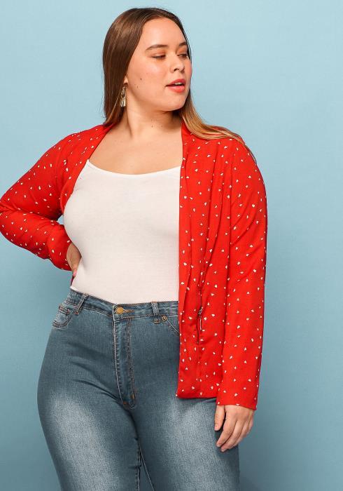 Asoph Plus Size Polka Dot Zipper Pocket Blazer