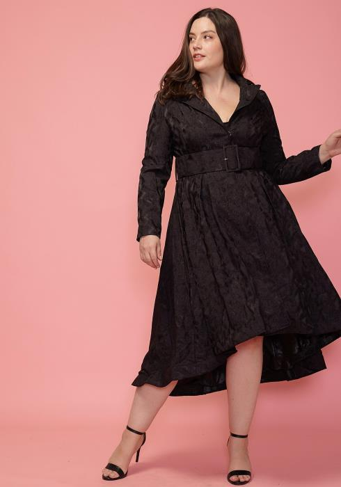 Asoph Plus Size Textured Hi-Lo Dress