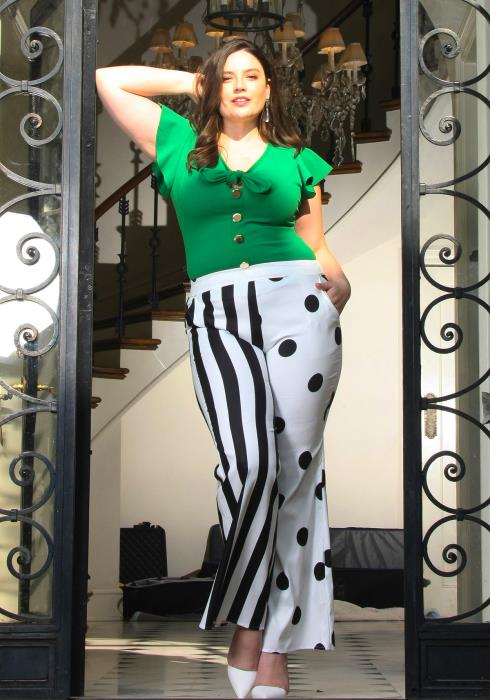 Asoph Plus Size Dot & Stripe Mixed Flared Pants
