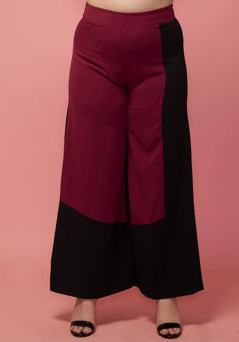 Asoph Plus Size Color Block Wide Pants