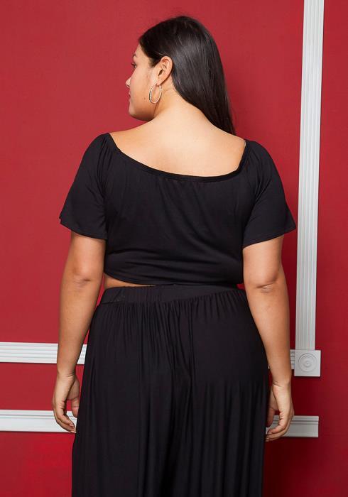 Asoph Plus Size Short Sleeve Tie Crop Top