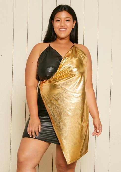 Asoph Plus Size Metallic Wrap Dress