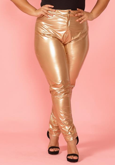 Asoph Plus Size Faux Gold Leather Pants