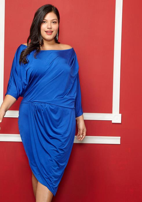 Asoph Plus Size Off Shoulder Asymmetrical Dress