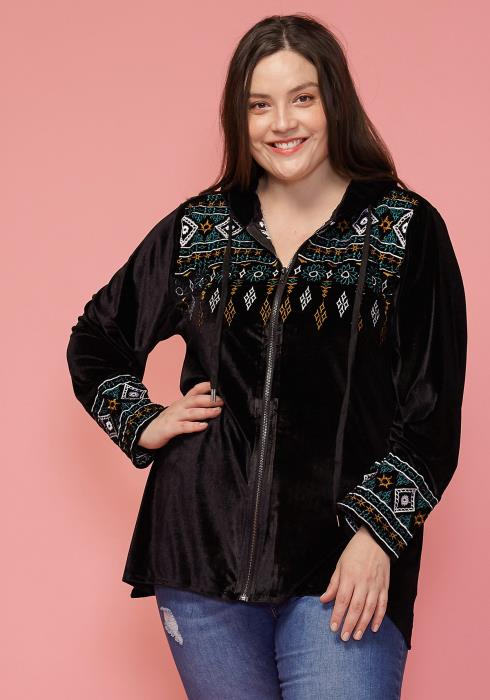 Asoph Plus Size Zip Up Embroidered Velvet Hoodie