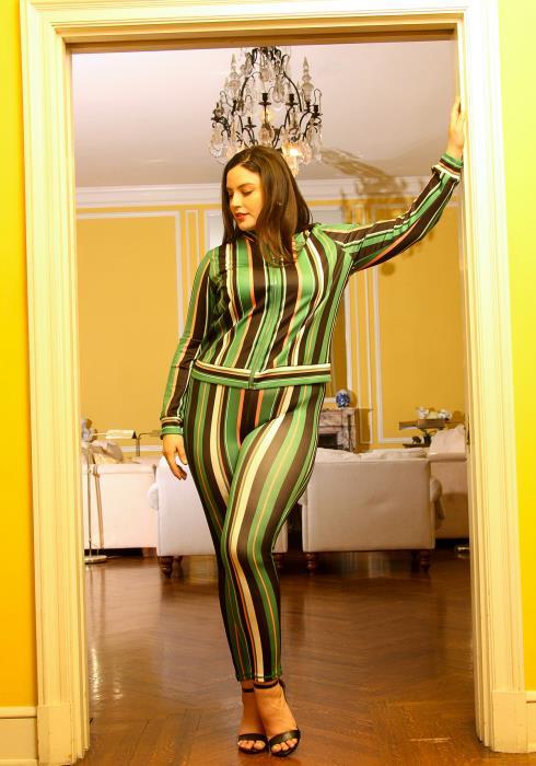 Asoph Plus Size Multi Color Stripe Print Zip Up Jacket & Pants Set