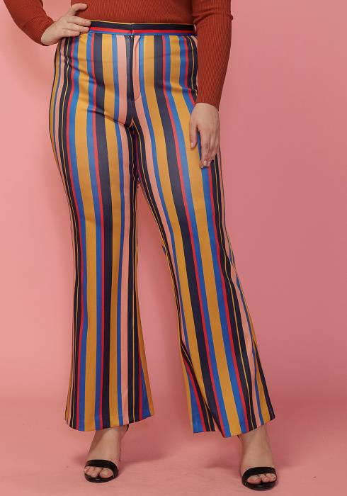 Asoph Plus Size Stripe Tie Waist Stretchy Flared Pants