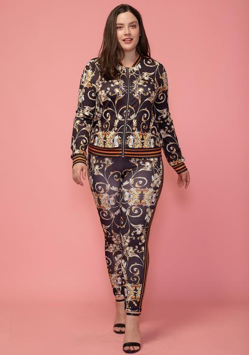 Asoph Plus Size Printed Zip Up Jacket & Pants Set