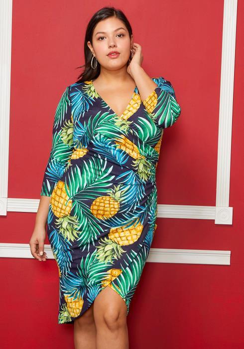 Asoph Plus Size Pineapple Print Wrap Dress