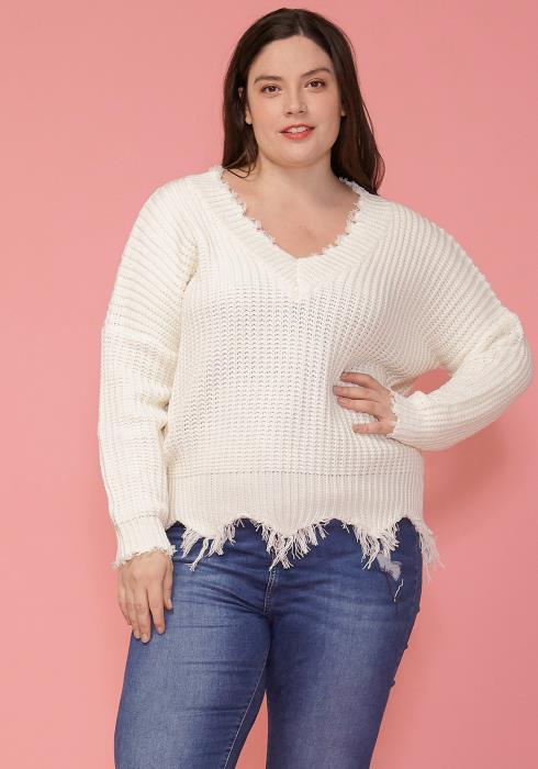 Asoph Plus Size Fringe Hem Sweater