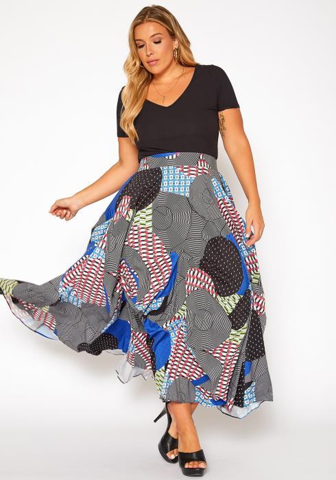 Asoph Plus Size Abstract Circle Print Maxi Skirt