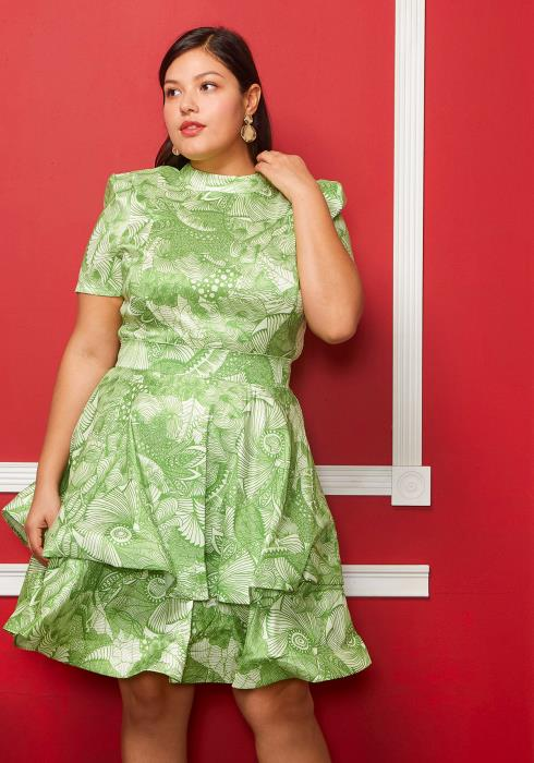 Asoph Plus Size Printed Layered Short Sleeve Dress