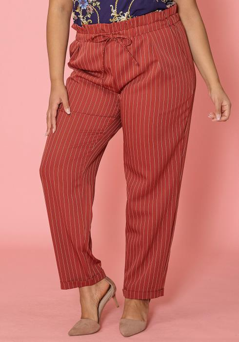 Asoph Plus Size Striped Elastic Waist Pants