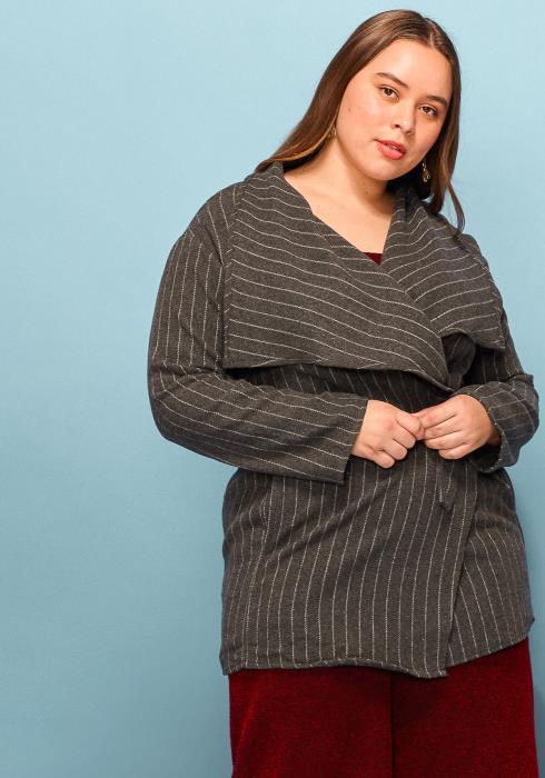 Asoph Plus Size Stripe Thick Tie Waist Coat
