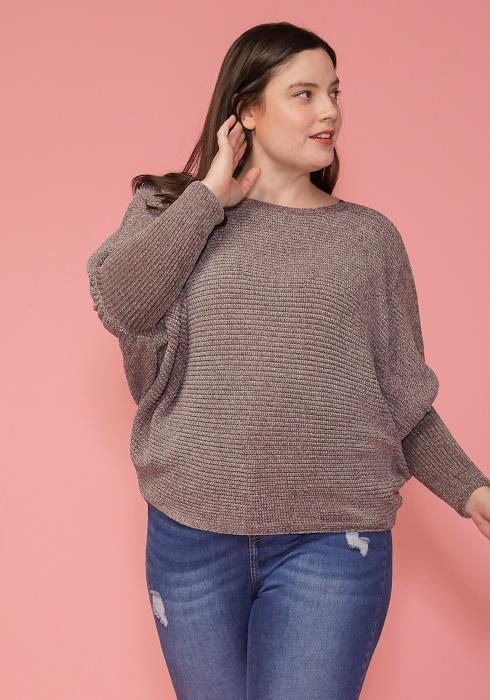 Asoph Plus Size Dolman Sleeve Boat Neck Sweater