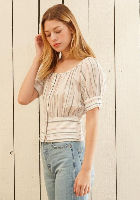 Nurode Multi Stripe Puff Sleeve S/S Top