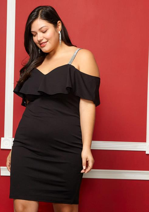 Asoph Plus Size Off The Shoulder Flare Dress