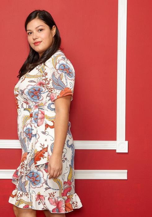 Asoph Plus Size Floral Print Short Sleeved Tie Dress