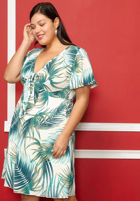 Asoph Plus Size Leaf Print Short Sleeved Dress