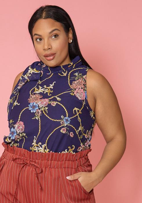 Asoph Plus Size Floral Print Mock Neck Sleeveless Blouse